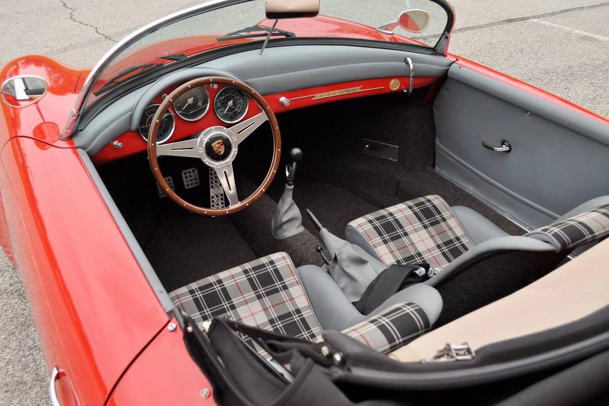 sold 1957 porsche 356 speedster replica red gray plaid interior thank you p w from. Black Bedroom Furniture Sets. Home Design Ideas
